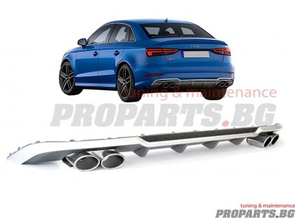 S3 sport diffuser with S3 exhaust tips for Audi A3 Sedan 12-17