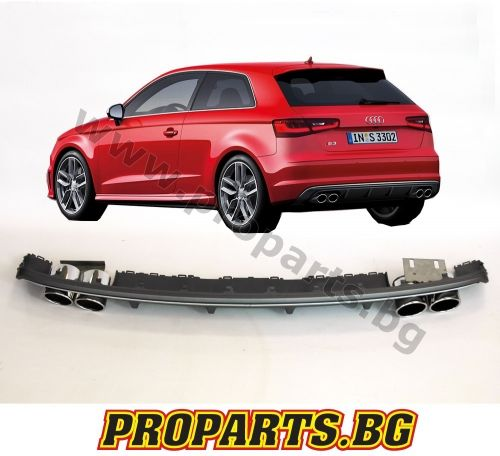 S3 sport diffuser with S3 exhaust tips for Audi A3 Sportsback 12-17