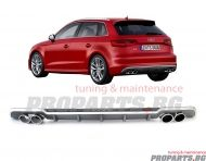 S3 sport diffuser with S3 exhaust tips for Audi A3 Sportsback 17-20